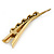 Long Vintage Inspired Gold Tone Clear Crystal White Faux Pearl Hair Beak Clip/ Concord/ Crocodile Clip - 13cm L - view 5