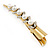 Long Vintage Inspired Gold Tone Clear Crystal White Faux Pearl Hair Beak Clip/ Concord/ Crocodile Clip - 13cm L - view 7