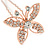 Bridal/ Wedding/ Prom/ Party Set Of 3 Rose Gold Tone Clear Austrian Crystal Butterfly Hair Pins - view 4