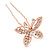 Bridal/ Wedding/ Prom/ Party Set Of 3 Rose Gold Tone Clear Austrian Crystal Butterfly Hair Pins - view 6