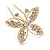 Bridal/ Wedding/ Prom/ Party Set Of 3 Gold Tone Clear Austrian Crystal Butterfly Hair Pins - view 4