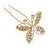 Bridal/ Wedding/ Prom/ Party Set Of 3 Gold Tone Clear Austrian Crystal Butterfly Hair Pins - view 7