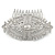 Bridal/ Wedding/ Prom/ Party Art Deco Style Rhodium Plated Tone Austrian Crystal Hair Comb - 85mm W - view 7