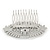 Bridal/ Wedding/ Prom/ Party Art Deco Style Rhodium Plated Tone Austrian Crystal Hair Comb - 85mm W - view 5