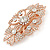Bridal/ Wedding/ Prom/ Party Art Deco Style Rose Gold Tone Austrian Crystal Barrette Hair Clip Grip - 80mm Across - view 9