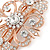 Bridal/ Wedding/ Prom/ Party Art Deco Style Rose Gold Tone Austrian Crystal Barrette Hair Clip Grip - 80mm Across - view 3