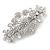 Medium Silver Tone Filigree Diamante Floral Barrette Hair Clip Grip - 70mm Across