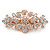 Medium Rose Gold Tone Filigree Diamante Floral Barrette Hair Clip Grip - 70mm Across - view 7