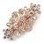 Medium Rose Gold Tone Filigree Diamante Floral Barrette Hair Clip Grip - 70mm Across - view 6