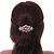 Medium Rose Gold Tone Filigree Diamante Floral Barrette Hair Clip Grip - 70mm Across - view 5