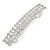 Classic Clear Crystal Square Barrette Hair Clip Grip In Rhodium Plated Metal - 80mm Across