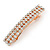 Classic Clear Crystal Square Barrette Hair Clip Grip In Rose Gold Plated Metal - 80mm Across