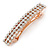 Classic Clear Crystal Square Barrette Hair Clip Grip In Rose Gold Plated Metal - 80mm Across - view 9
