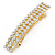 Classic Clear Crystal Square Barrette Hair Clip Grip In Gold Plated Metal - 80mm Across