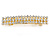 Classic Clear Crystal Square Barrette Hair Clip Grip In Gold Plated Metal - 80mm Across - view 6
