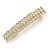 Classic Clear Crystal Square Barrette Hair Clip Grip In Gold Plated Metal - 80mm Across - view 7