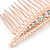 Bridal/ Wedding/ Prom/ Party Rose Gold Tone Clear Crystal, White Faux Pearl Hair Comb - 80mm - view 4