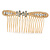 Bridal/ Wedding/ Prom/ Party Gold Tone Clear Austrian Crystal Bow Side Hair Comb - 80mm
