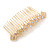 Bridal/ Wedding/ Prom/ Party Gold Tone Clear Crystal, Cream Faux Pearl Double Square Pattern Hair Comb - 80mm - view 6