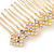 Bridal/ Wedding/ Prom/ Party Gold Tone Clear Crystal, Cream Faux Pearl Double Square Pattern Hair Comb - 80mm - view 4