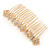 Bridal/ Wedding/ Prom/ Party Gold Tone Clear Crystal, Cream Faux Pearl Double Square Pattern Hair Comb - 80mm - view 8