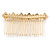 Bridal/ Wedding/ Prom/ Party Gold Tone Clear Crystal, Cream Faux Pearl Double Square Pattern Hair Comb - 80mm - view 5