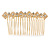 Bridal/ Wedding/ Prom/ Party Gold Tone Clear Crystal, Cream Faux Pearl Double Square Pattern Hair Comb - 80mm