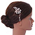 Bridal/ Wedding/ Prom/ Party Rose Gold Tone Clear Austrian Crystal Flower with Dangles Side Hair Comb - 60mm L - view 2