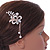Bridal/ Wedding/ Prom/ Party Rose Gold Tone Clear Austrian Crystal Flower with Dangles Side Hair Comb - 60mm L - view 3