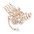 Bridal/ Wedding/ Prom/ Party Rose Gold Tone Clear Austrian Crystal Flower with Dangles Side Hair Comb - 60mm L - view 7