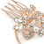 Bridal/ Wedding/ Prom/ Party Rose Gold Tone Clear Austrian Crystal Flower with Dangles Side Hair Comb - 60mm L - view 4