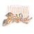 Bridal/ Wedding/ Prom/ Party Rose Gold Tone Clear Austrian Crystal Calla Lily Side Hair Comb - 60mm - view 7