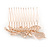 Bridal/ Wedding/ Prom/ Party Rose Gold Tone Clear Austrian Crystal Calla Lily Side Hair Comb - 60mm - view 6