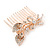 Bridal/ Wedding/ Prom/ Party Rose Gold Tone Clear Austrian Crystal Calla Lily Side Hair Comb - 60mm - view 5