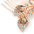 Bridal/ Wedding/ Prom/ Party Rose Gold Tone Clear Austrian Crystal Calla Lily Side Hair Comb - 60mm - view 4