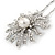 Bridal/ Wedding/ Prom/ Party Single Clear Crystal White Glass Pearl Flower Hair Pin In Silver Tone - 80mm L - view 4