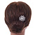 Bridal/ Wedding/ Prom/ Party Single Clear Crystal White Glass Pearl Flower Hair Pin In Silver Tone - 80mm L - view 2