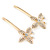 2 Bridal/ Prom Crystal Butterfly Hair Grips/ Slides In Gold Plating - 70mm Across - view 4