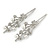 2 Bridal/ Prom Clear Crystal, Pearl Floral Hair Grips/ Slides In Rhodium Plating - 70mm L