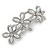 Vintage Inspired Triple Flower Crystal, Faux Pearl Hair Beak Clip/ Concord Clip In Silver Tone  - 70mm L