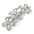 Vintage Inspired Triple Flower Crystal, Faux Pearl Hair Beak Clip/ Concord Clip In Silver Tone  - 70mm L - view 6