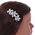 Vintage Inspired Triple Flower Crystal, Faux Pearl Hair Beak Clip/ Concord Clip In Silver Tone  - 70mm L - view 3