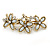 Vintage Inspired Triple Flower Crystal, Faux Pearl Hair Beak Clip/ Concord Clip In Antique Gold Tone - 70mm L - view 6