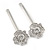 2 Bridal/ Prom Clear Crystal Flower Hair Grips/ Slides In Rhodium Plated Metal - 60mm Across - view 7