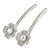 2 Bridal/ Prom Clear Crystal Flower Hair Grips/ Slides In Rhodium Plated Metal - 60mm Across - view 8
