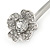 2 Bridal/ Prom Clear Crystal Flower Hair Grips/ Slides In Rhodium Plated Metal - 60mm Across - view 4