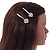 2 Bridal/ Prom Clear Crystal Flower Hair Grips/ Slides In Rhodium Plated Metal - 60mm Across - view 2