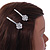 2 Bridal/ Prom Clear Crystal Flower Hair Grips/ Slides In Rhodium Plated Metal - 60mm Across - view 3