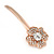 2 Bridal/ Prom Clear Crystal Flower Hair Grips/ Slides In Rose Gold Tone - 60mm Across - view 9