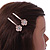 2 Bridal/ Prom Clear Crystal Flower Hair Grips/ Slides In Rose Gold Tone - 60mm Across - view 3